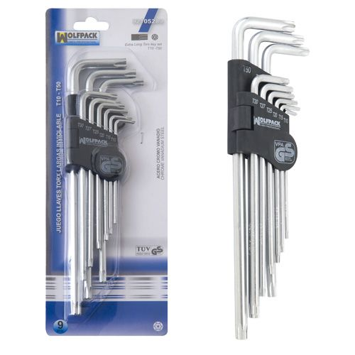 LLAVE TORX INVIOLABLE LARGO JGO. 9 Pz. WOLFPACK