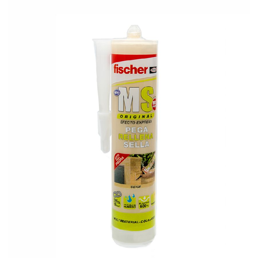 SELLADOR POLIMERO MS BEIGE PLUS FISCHER 290 ml SELLANTE + ADHESIVO