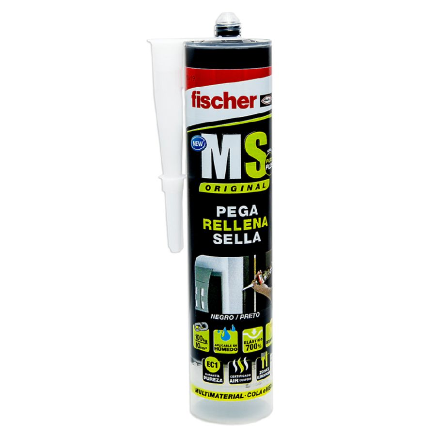 SELLADOR POLIMERO MS NEGRO PLUS FISCHER 290 ml SELLANTE + ADHESIVO